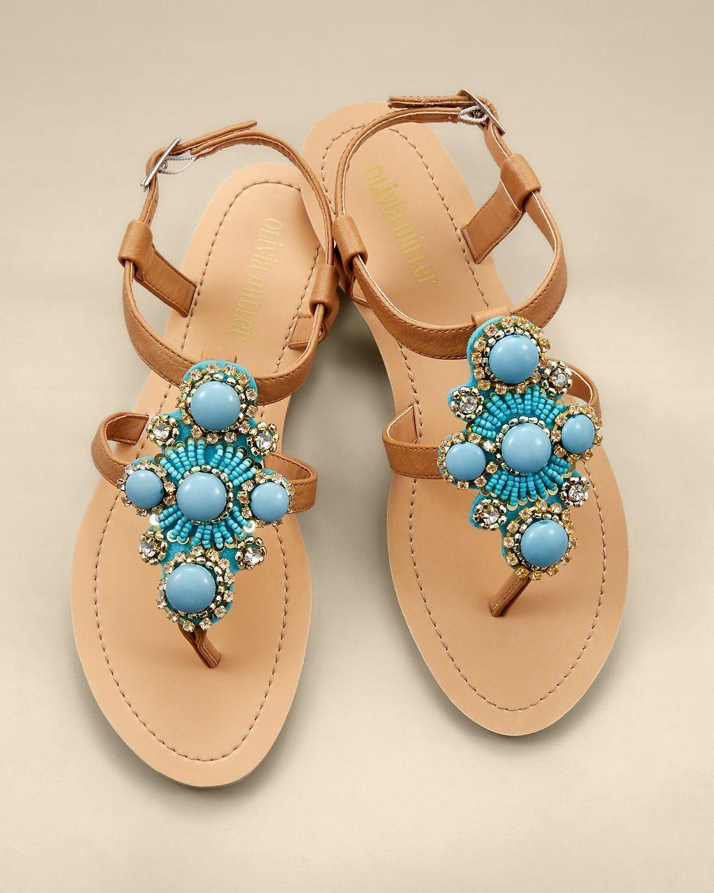ee8b858d05376 Olivia Miller Turquoise Stone Flat Sandal  28.00 Soma Intimatea