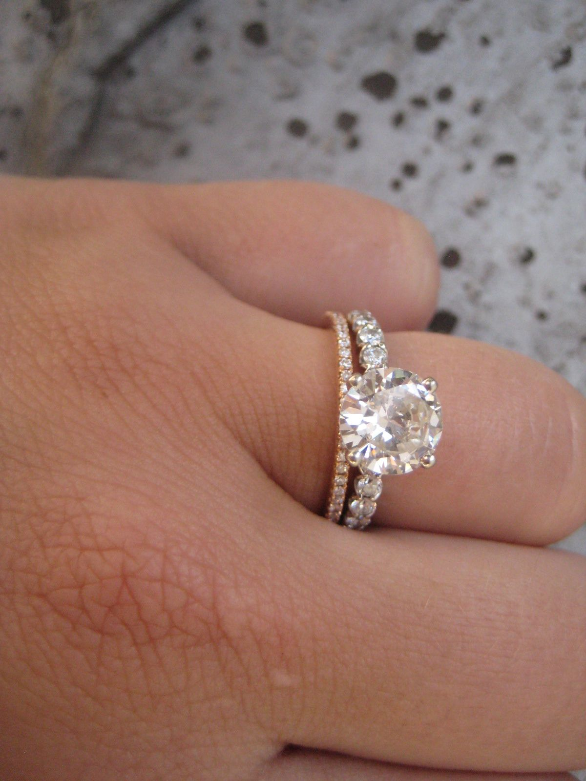 Rose Gold Wedding Band, Love And WANT! I Love The Idea Of A Platinum  Engagement With A Rose Gold Diamond Wedding Band
