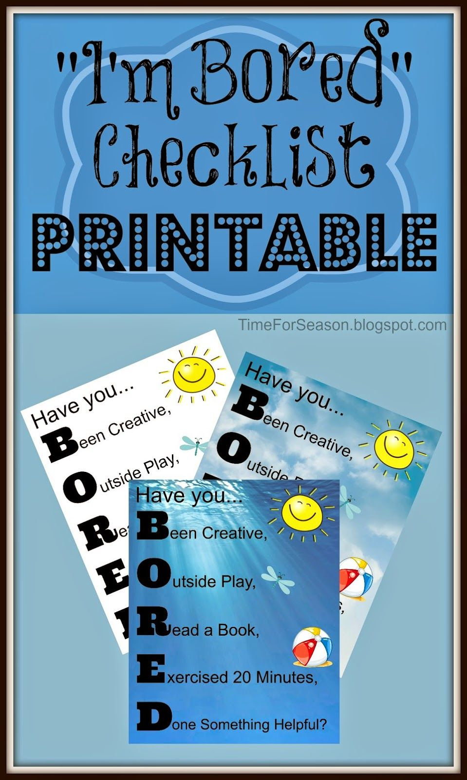 A Time For Seasons: Bored Checklist Free Printable | Parenting ...