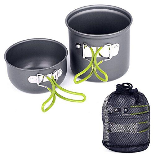 Camp Kitchen - Shensee Camping Hiking Picnic Cookware Cook Pot Bowl Set Aluminum Outdoor >>> Click on the image for additional details.