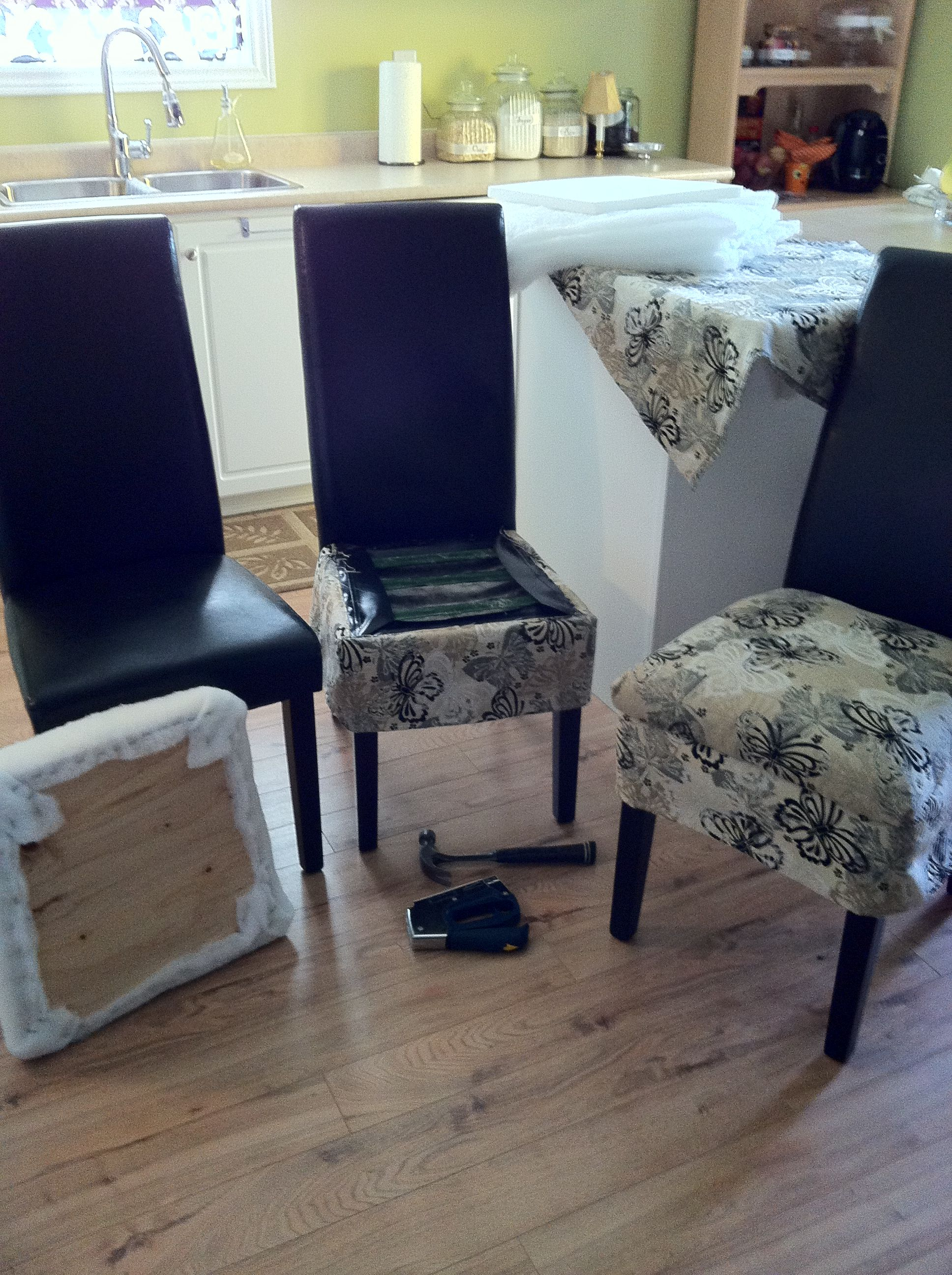 Walmart parson chair redo seat cover start from left to