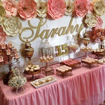 Mesa de dulces para quince a os color rosa eventos - Decoracion facil y barata ...