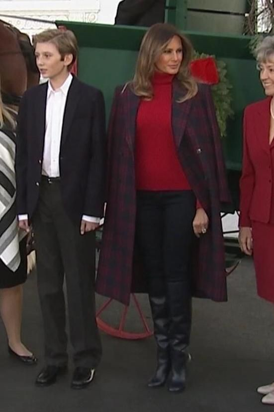 f6cb823c7ea5 Melania Trump wearing Calvin Klein 205w39nyc Double Breasted Check Wool Coat