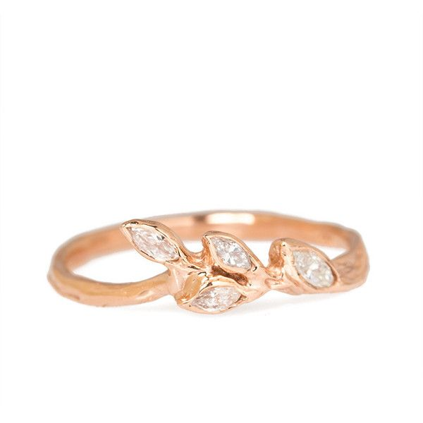 Rose Gold Diamond Leaf Ring ($1,050) ❤ liked on Polyvore featuring jewelry, rings, pink gold rings, diamond jewellery, fine jewelry, pink gold diamond rings and rose gold rings