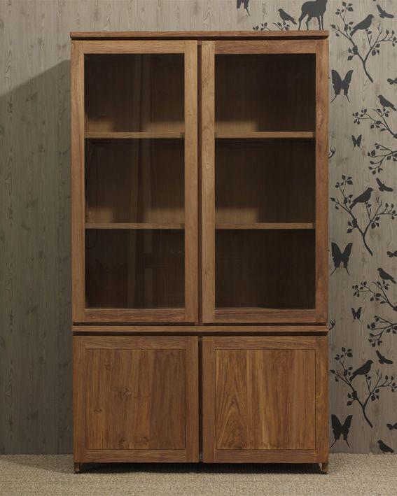www.livinghome.nl info@livinghome.nl €715,- #kast #boekenkast #vitrinekast #opbergkast #bruin #hout #interieur
