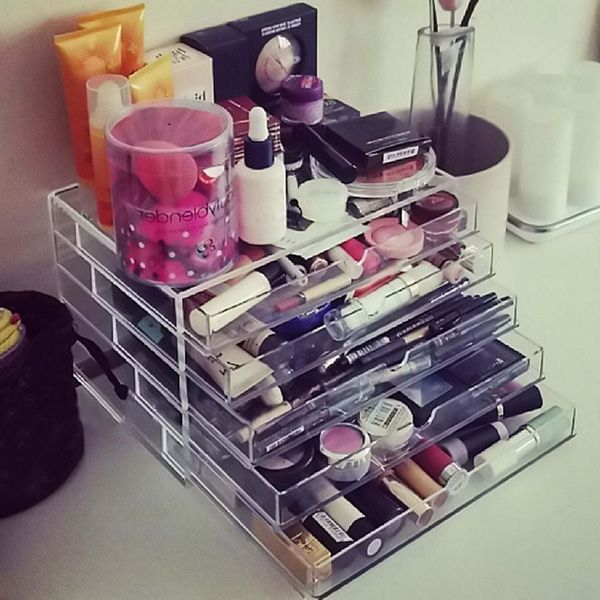 Homdox Cosmetic Organizer 5 Drawers Makeup Case Storage Holder Box