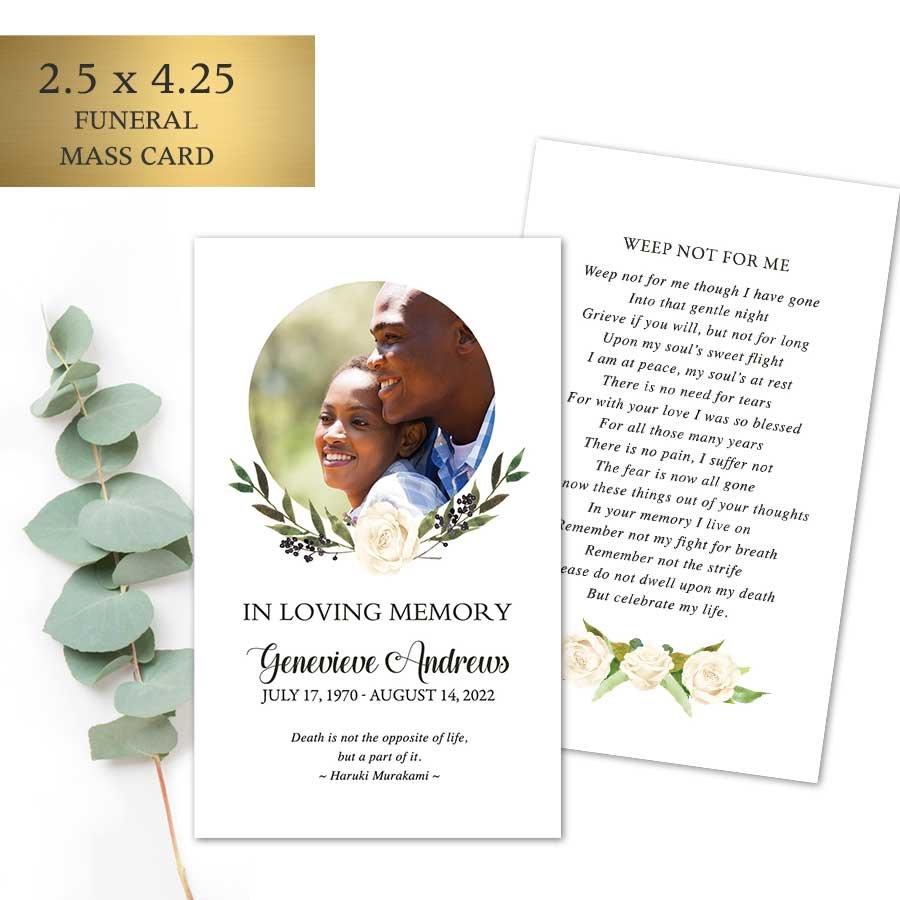 Funeral Mass Cards With Photo Keepsake Memorial Keepsakes Funeral Cards
