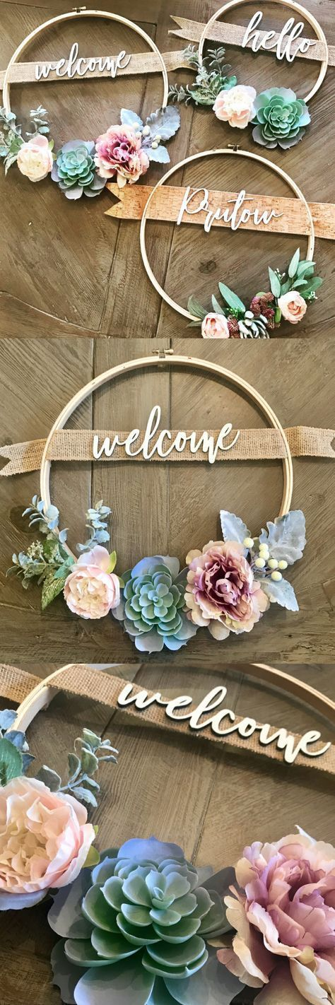 Photo of Pretty welcome wreath with embroidery hoop and succulents