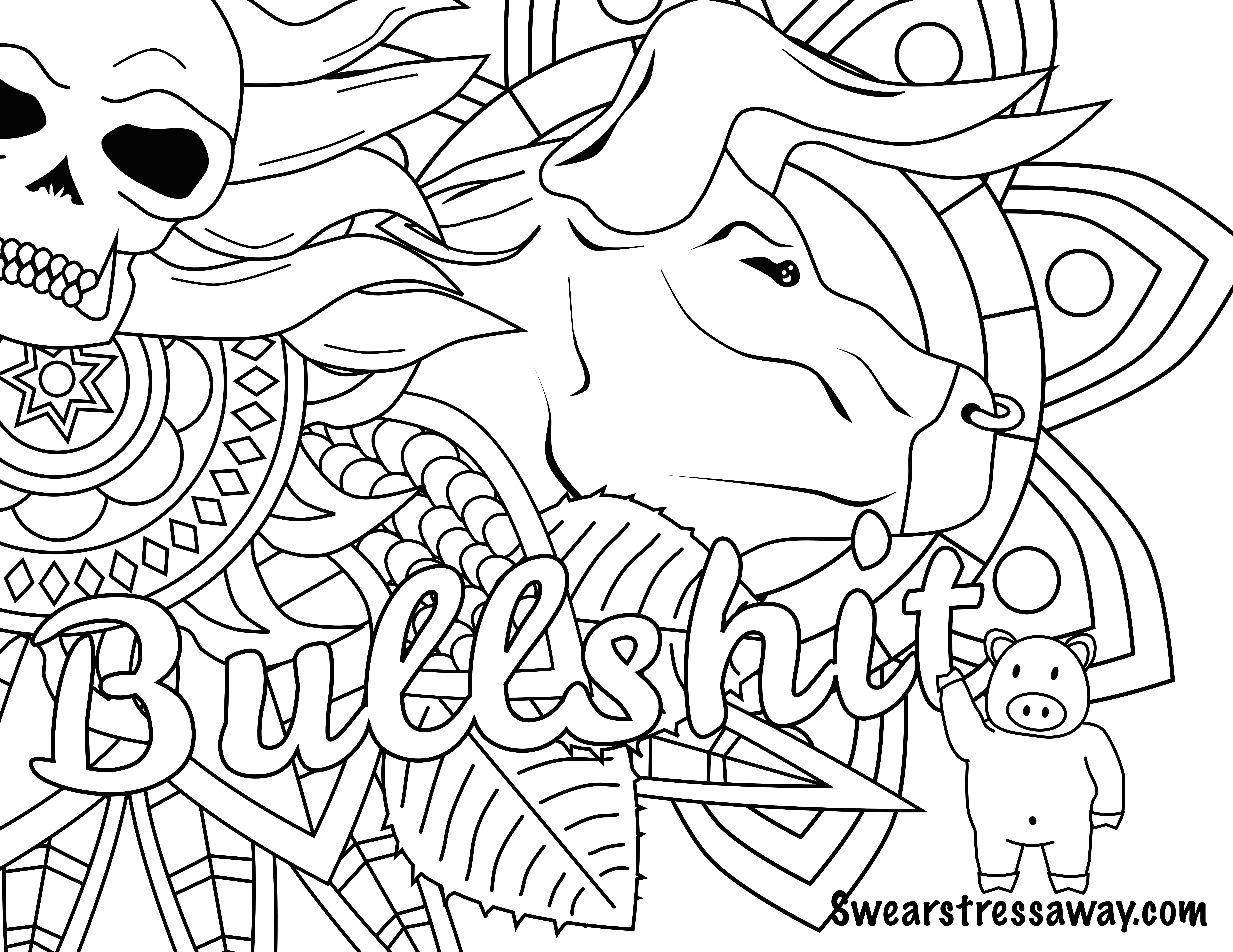Bullshit Swear Word Coloring Page Adult Coloring Page