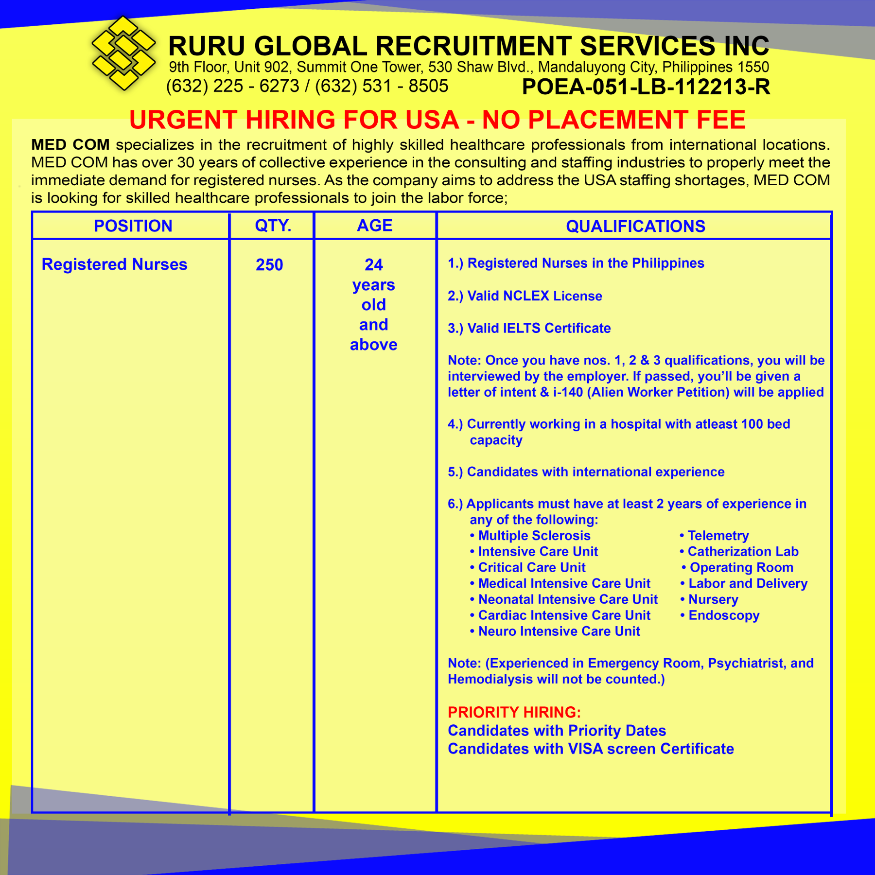 Urgent Hiring for USA No placement fee MED COM