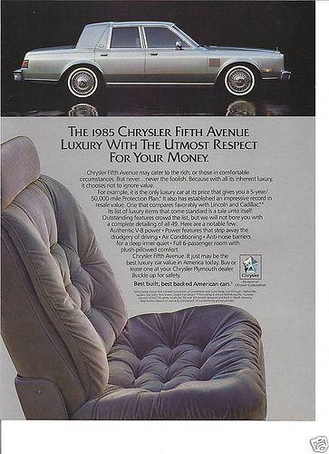 1985 Chrysler Fifth Avenue Car Advertising Automobile