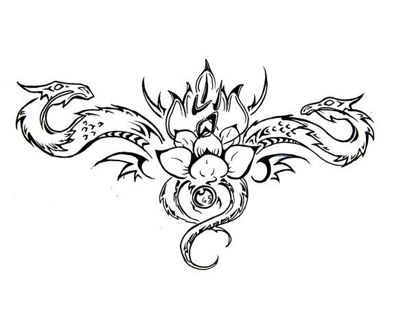 Lotus Dragons Tattoo Design Small Dragon Tattoos Dragon Tattoo Designs Dragon Tattoo