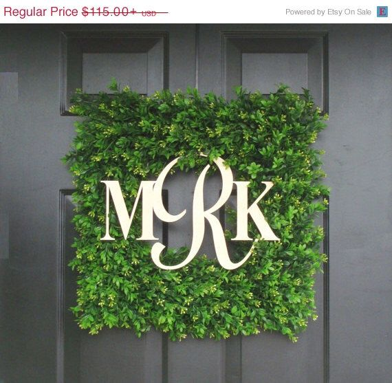 MEMORIAL DAY SALE Monogram Boxwood Wreath, Wedding Gift, Custom Monogram Wreath, Housewarming Gift,  Wedding Decor 20 Inch by ElegantWreath on Etsy https://www.etsy.com/listing/159783162/memorial-day-sale-monogram-boxwood