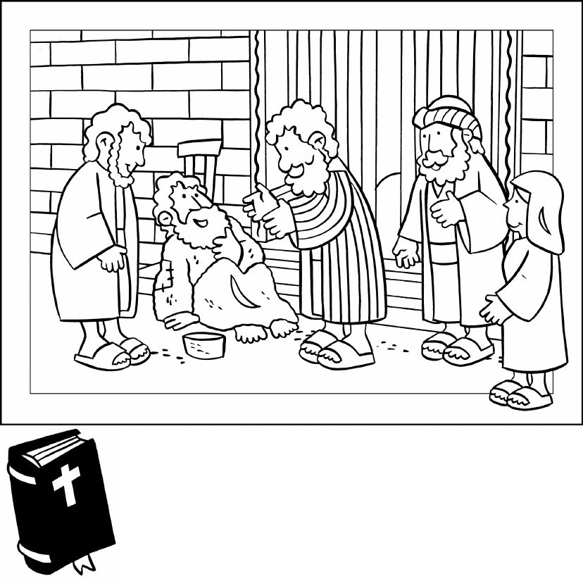 lame man healed coloring page - the acts of the apostles healing of the lame man new