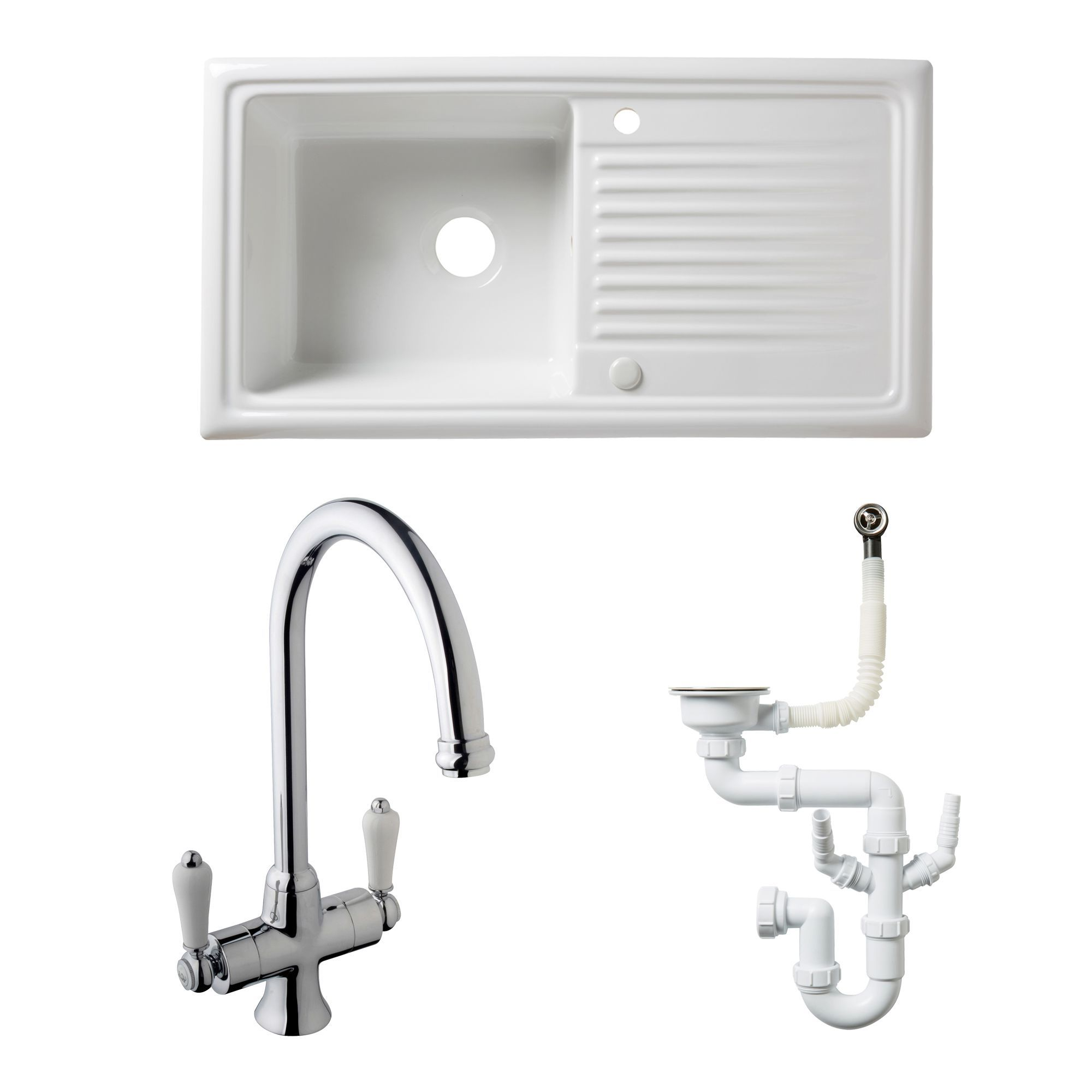 Cooke And Lewis Kitchen Sinks Cooke lewis 1 bowl white ceramic sinktap waste kit cooke lewis 1 bowl white ceramic sink tap waste kit departments diy at bq workwithnaturefo