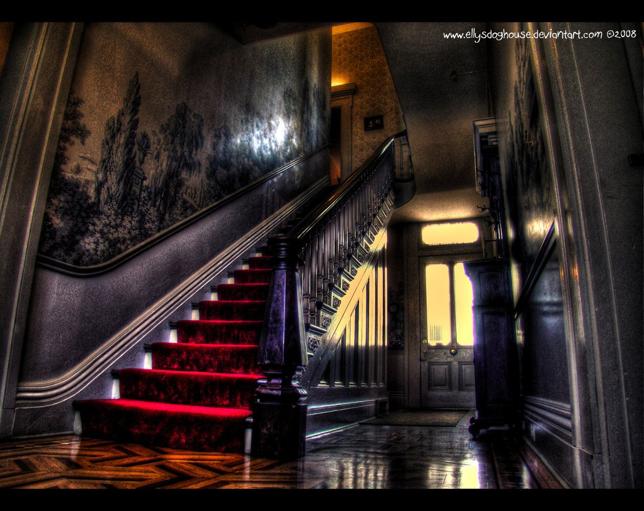 Gothic victorian living room - Grand Staircase Chatillon Demenil Mansion Entry Foyer By Ellysdoghouse On Deviantart