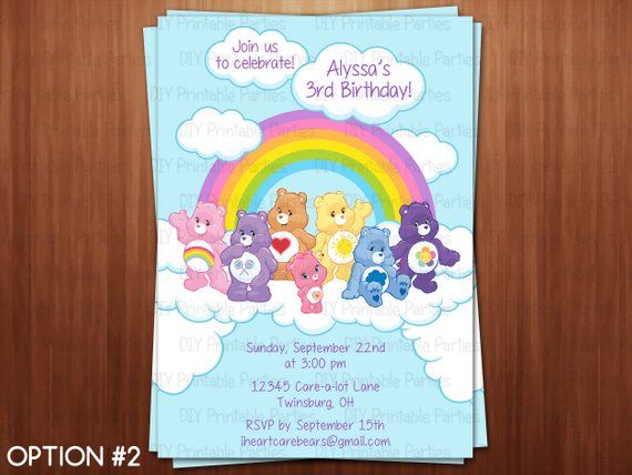 Printable DIY Care Bears Theme Personalized Happy Birthday Party Invitation Digital File