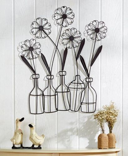 Metal Flower In A Vase Wall Art Floral Leaves Silhouette