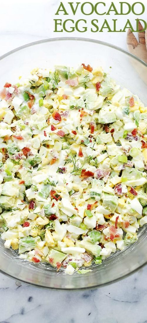 Avocado Egg Salad - This is the BEST EGG SALAD! Chunky and delicious egg salad loaded with avocados, crunchy bacon, green onions, dill, lime juice and yogurt. Serve as an appetizer, a side dish, or as a filling for those yummy sandwiches. #eggmeals