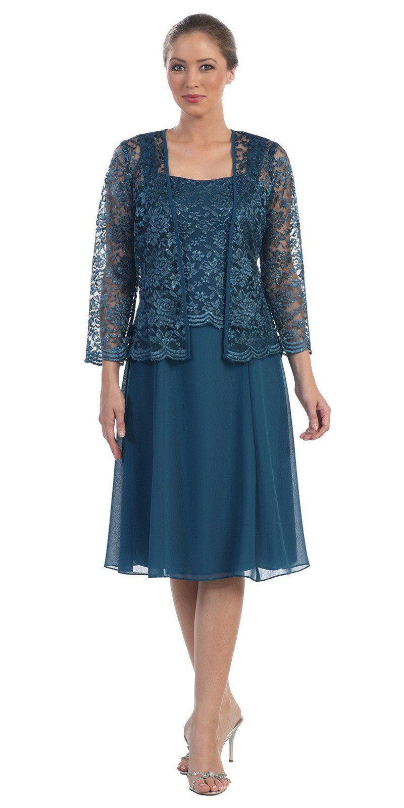 ea35c6973ee This short A line modest knee length teal dress is perfect for mother of  the bride or another formal occasion. This lace with pebble dress has wide  ...