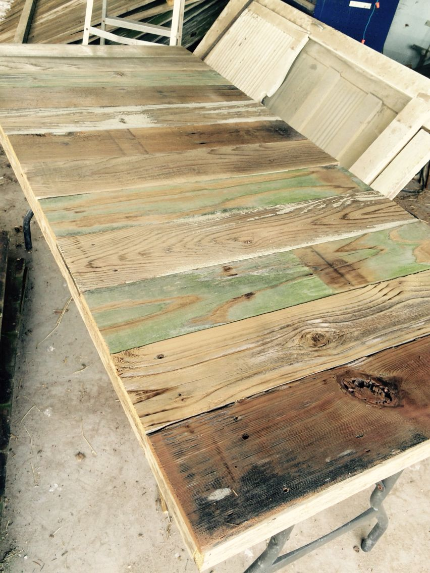 Reclaimed Wood Tabletop That Fits Over A Folding Plastic Table A