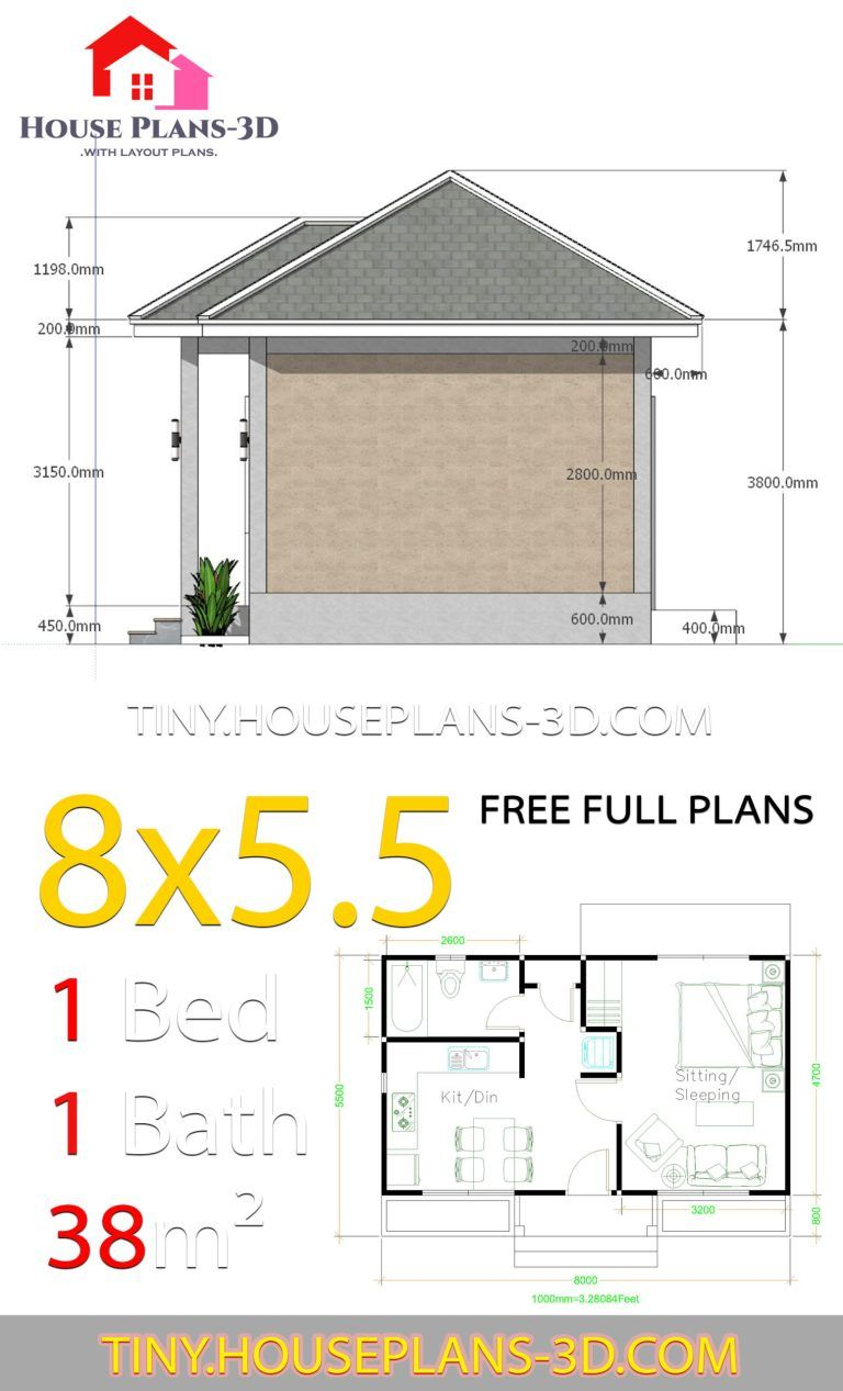 Small House Plans 8x5 5 With One Bedrooms Gross Hipped Roof Tiny House Plans Small House Plans House Plans Tiny House Plans