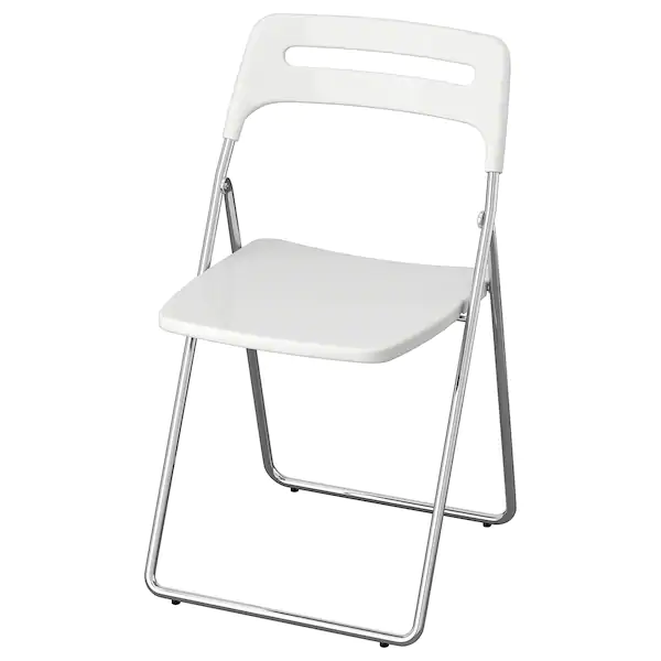 Nisse Stul Skladnoj Glyancevyj Belyj Hromirovannyj Ikea In 2021 Folding Chair Drop Leaf Table Leaf Table
