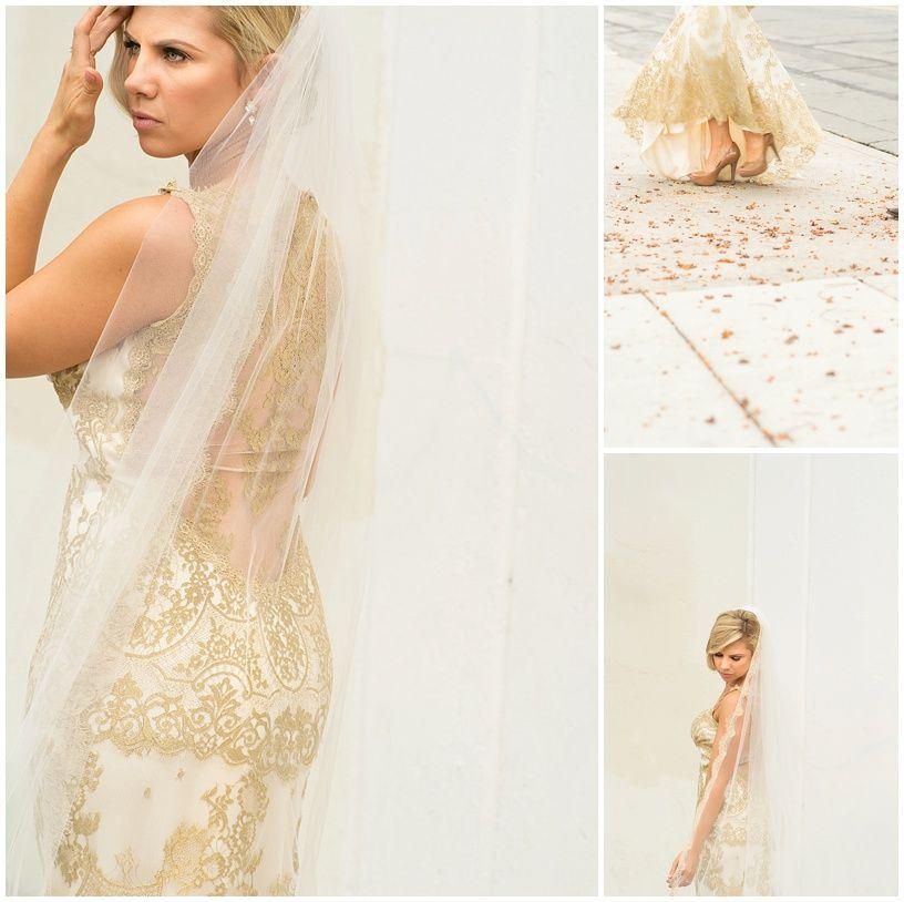 San Diego Downtown wedding bride with gold wedding gown - By Rachel ...