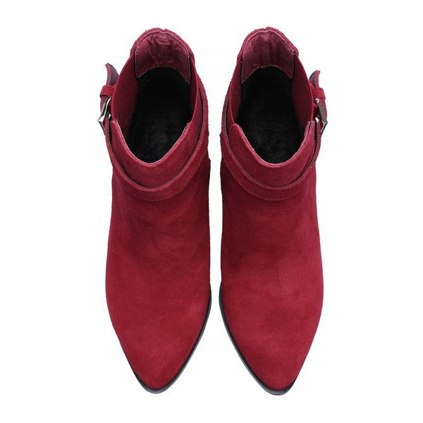 SheIn(sheinside) Burgundy Chunky High Heel Buckle Strap Boots (214.115 COP) ❤ liked on Polyvore featuring shoes, boots, ankle booties, pointy toe booties, burgundy boots, high heel stilettos, high heel booties and burgundy booties