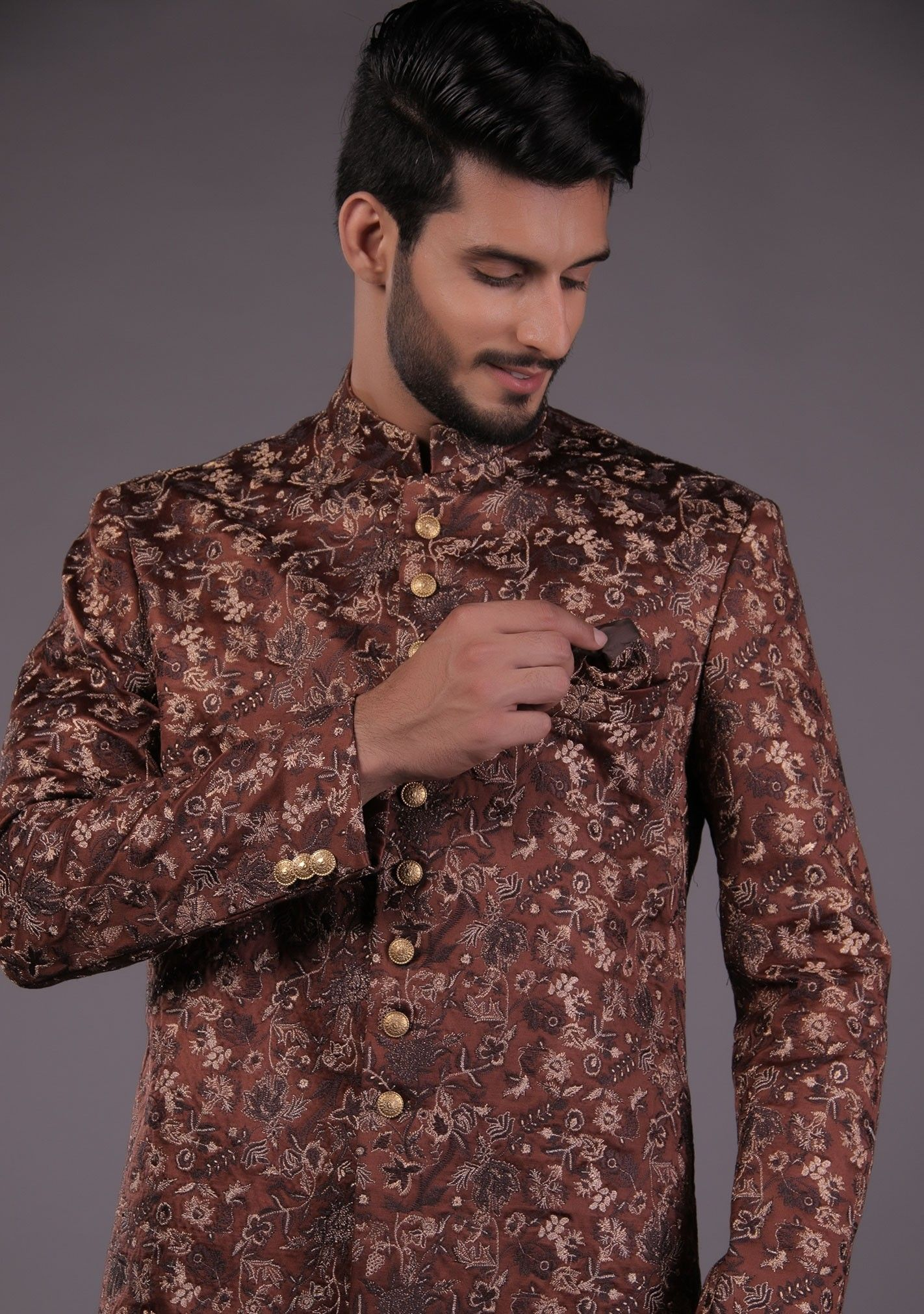 Premium Satin Brown Classic Fit Sherwani Sherwani