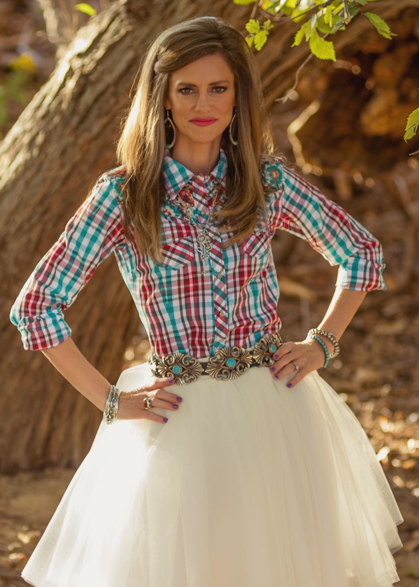 Plaid Shirt Full Tulle Skirt Concho Belt Cowboy Boots Clothes Austin Flats Millie Black Hitam 40 Boot Outfits