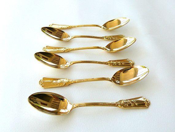 Vintage spoon set for six Teaspoons tea and coffee spoons pieces vintage gold plated teaspoons