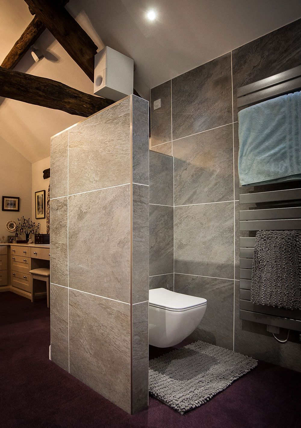 Open Plan Ensuite Toilet Is Hidden Behind Wall So As To Not Be Seen From The Bedroom But Is Still Open At The Top Which Bathroom Showrooms Bathroom Ensuite