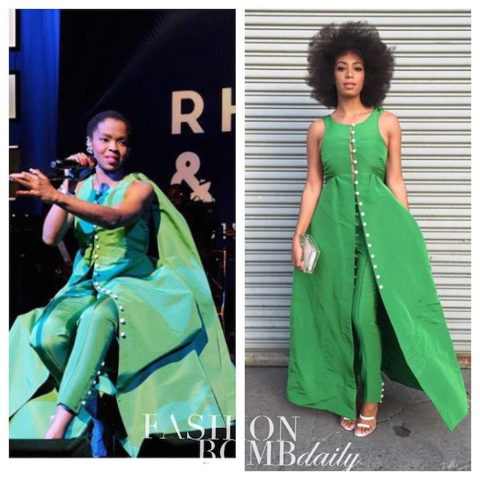 Lauryn Hill vs. Solange Knowles in Rosie Assoulin's Fall 2015 Green Pearl Buttoned Top and Pants