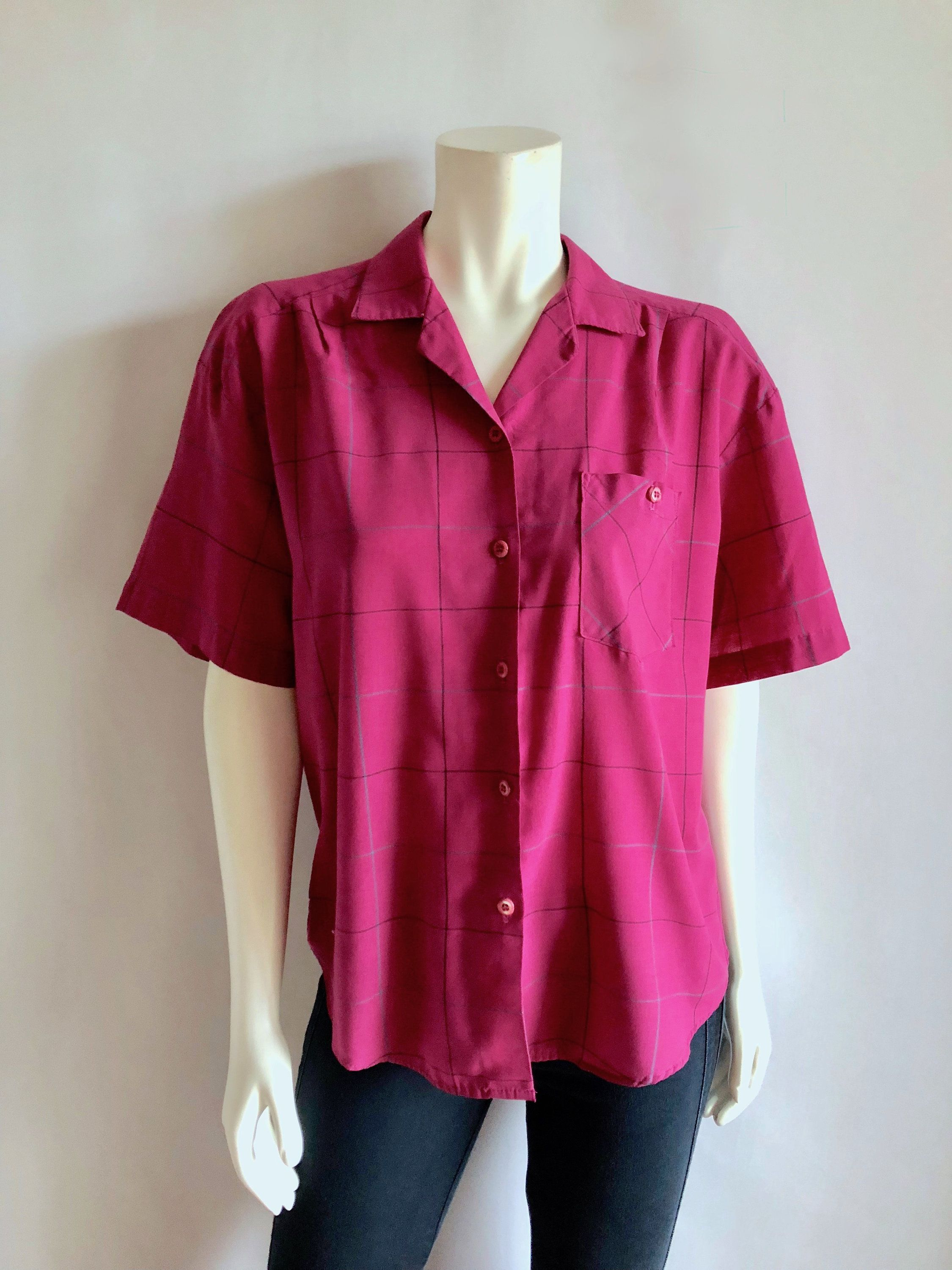 e4f0066f4298f6 Magenta Blouse Short Sleeve