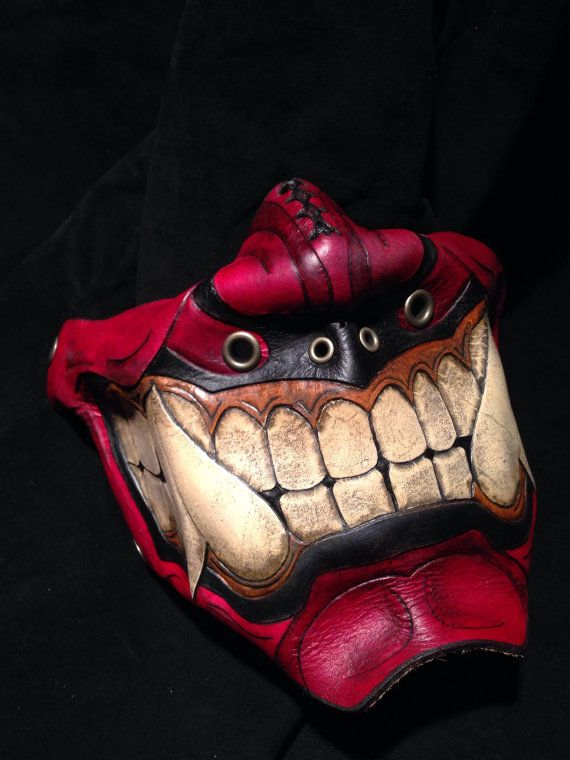 22741d7e 11 Leather Face Masks on Etsy that will turn any old biker into a Badass.  red-leather-oni-kabuki-half-mask