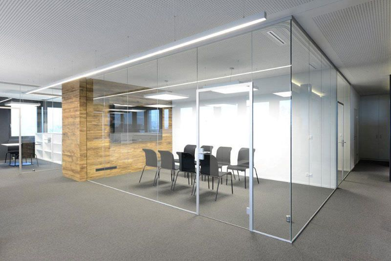 Gallery for modern office glass partitions office design pinterest printer stand Interior glass partition systems