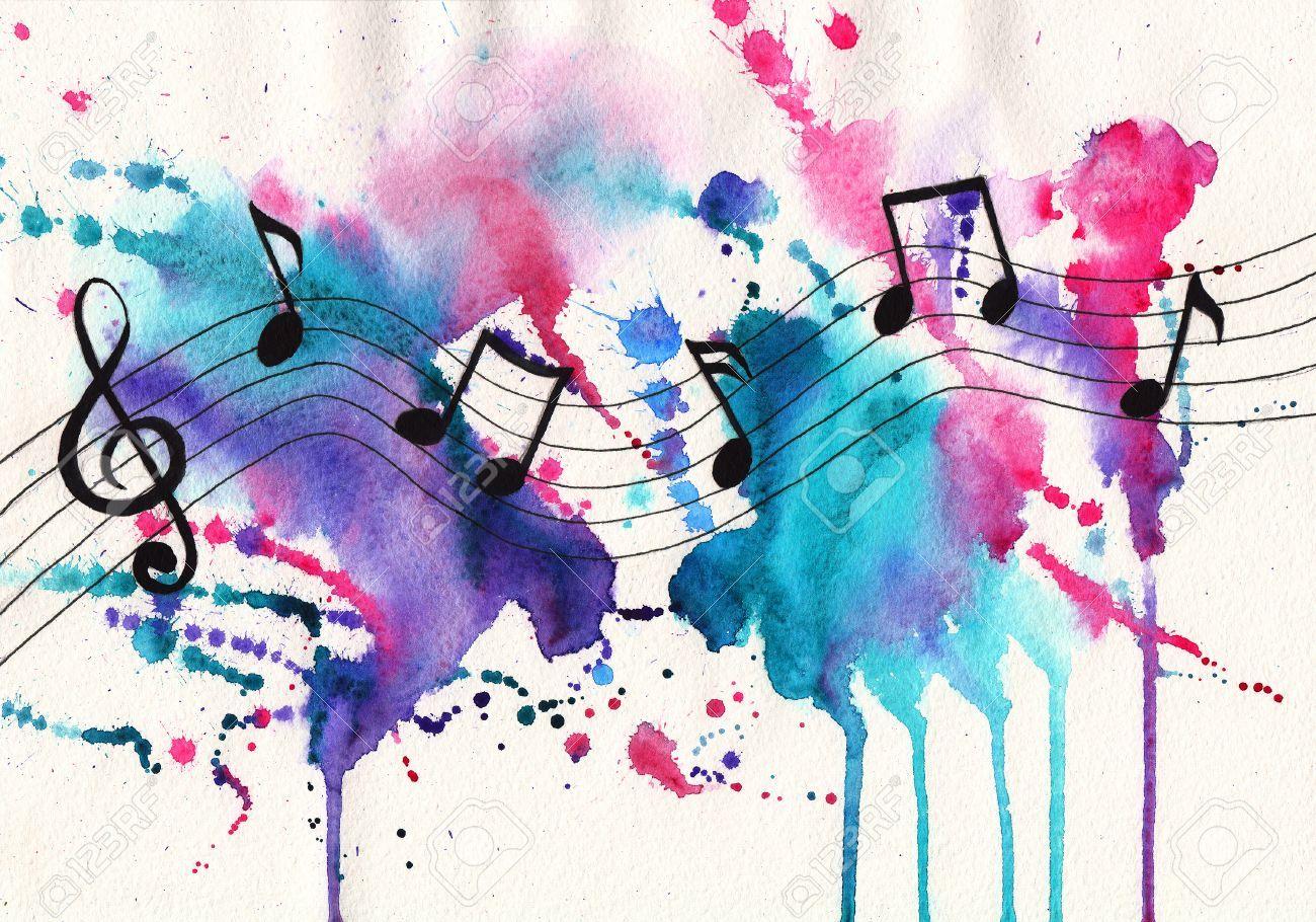 Aquarell Noten. Musik-Symbole auf abstrakte Aquarell strukturierten Hintergrund