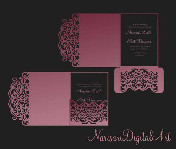 Tri Fold pocket envelope 5x7 Wedding Invitation DXF SVG EPS Template