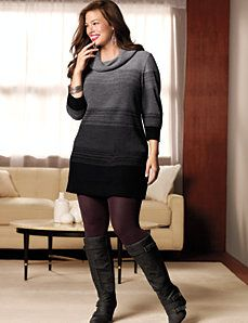 0dbeff4b378 Plus Size Sweater Dress Tunic with tights and boots..