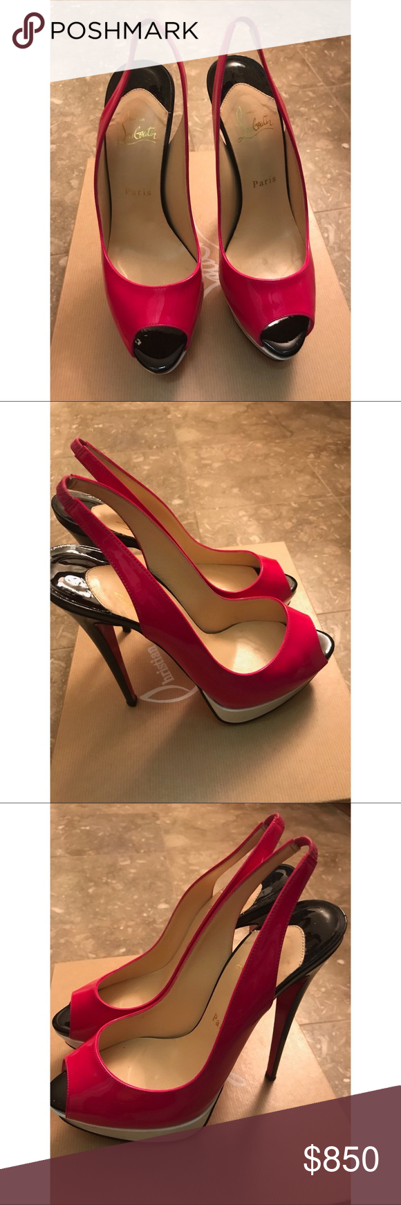 349128dd744f Christian Louboutin Lady Peep 150 Slingback Authentic preowned Multicolor  (hot pink