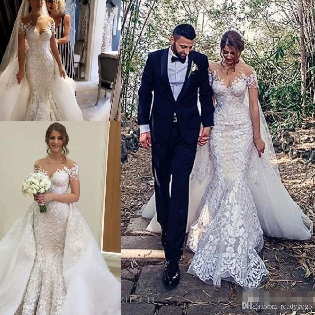 Mermaid wedding dress with detachable train   Plus Size Wedding Gowns with Detachable Train vestido de novia