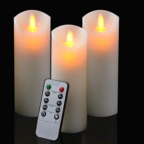 6 Inch Flameless Led Candle Real Flame Effect Candle With Timer 10 Key Remote Control Classic Pillar Can With Images Flameless Led Candles Candle Set Led Candles