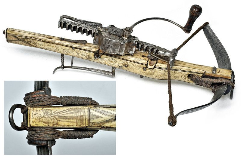 A bone-plated crossbow with a cranequin. Germany dating ...