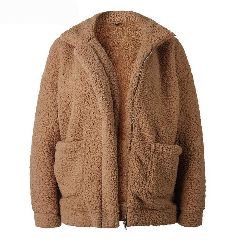 876b7ab2eaa Teddy fleece faux Casual jacket