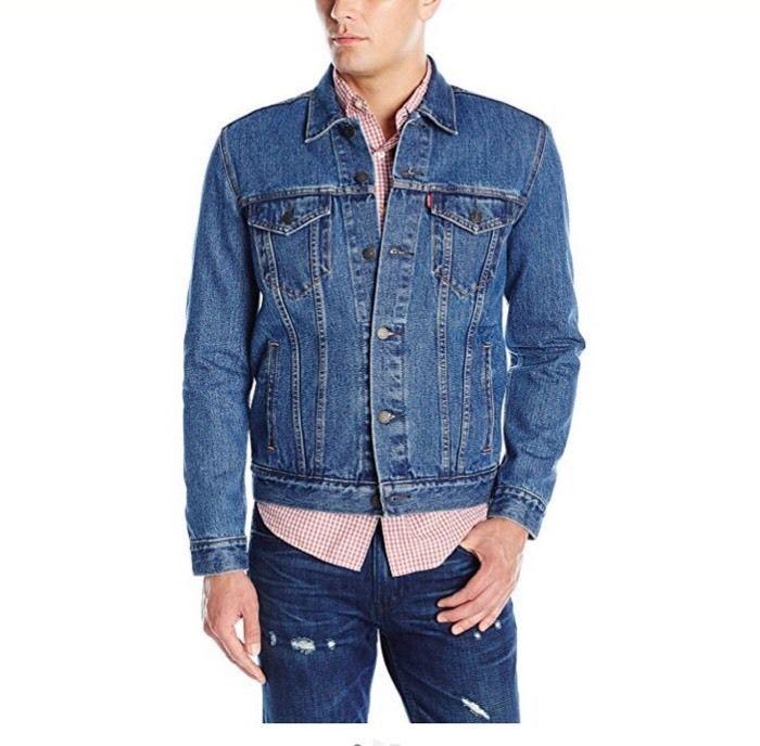 Levis Mens Slim Fit Jean Jacket Sz L Large Levi Strauss Ebay Trucker Jacket Fitted Jean Jacket Mens Jeans
