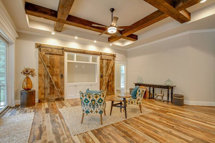 amazing living room built ins reclaimed wood tv | Great Room with Coffered ceiling with cedar beams ...