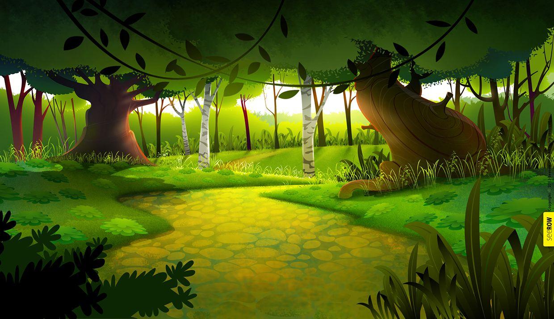 2d Animation Bg On Wacom Gallery Animation Background Landscape Illustration Forest Background