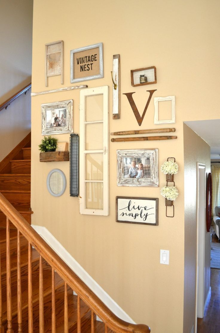 Vintage Inspired Staircase Gallery Wall. Vintage farmhouse wall ...