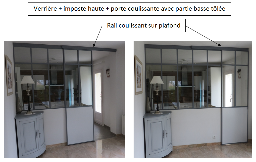 Verri re rail coulissant sous plafond imposte haute for Porte semi vitree interieur